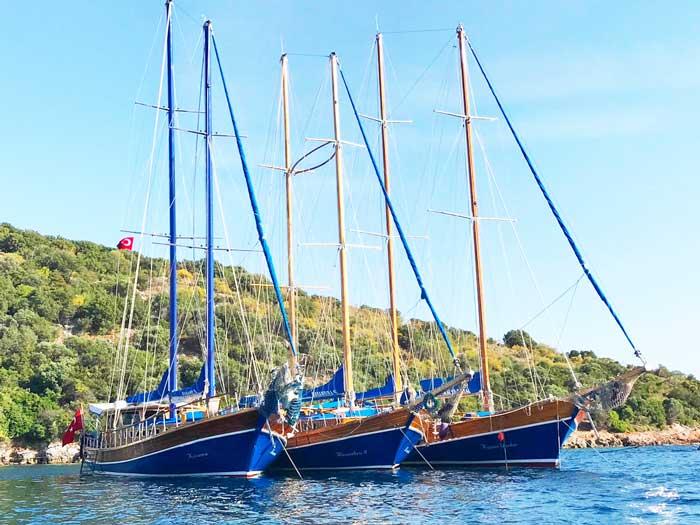 Gulets in Turkije, echte zeilende Gulets